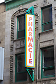 Pharmacie, French Pharmacy sign in downtown Montreal, Quebec
