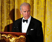 United States Vice President Joe Biden makes remarks prior to U.S. President Barack Obama speaking at a dinner to honor our Armed Forces who served in Operation Iraqi Freedom and Operation New Dawn and to honor their families in the East Room of the White House in Washington, D.C. on Wednesday, February 29, 2012..Credit: Ron Sachs / Pool via CNP