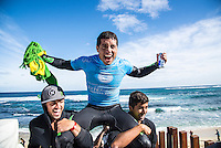 Margaret River, Western Australia (Wednesday, April 22, 2015) Adriano de Souza (BRA) and Miguel Pupo (BRA). – The Men's contest in the 2015 Drug Aware Margaret River Pro was wrapped up today with Adriano de Souza defeating defending former event champion John John Florence (HAW) in the 40 minute final. The surf was in the 6'-8' range at The Main break and with light  offshore winds.  De Souza now leads the world tour rankings after a 3rd at the Quiksilver Pro Gold Coast, a 2nd at the Rip Curl Pro at Bells Beach and now a 1st  at Margaret River .Photo: joliphotos.com
