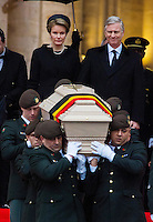 Funerals of the Queen Fabiola of Belgium at the Saints Michel & Gudule Cathedral in Brussels - Exit