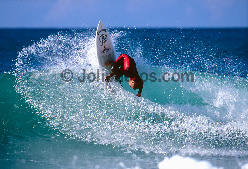 Jeffreys Bay, Eastern Cape, South Africa circa1991. <br /> Luke Egan (AUS) surfing Jeffreys Bay during the running Country Feeling Dream Sequence surf contest. The concept for the unique Dream Sequence event was created by former pro surfer Derek Hynd (AUS) and  was won by Egan  with the first prize being a block of land over looking the iconic surf break.  Photo:joliphotos.com