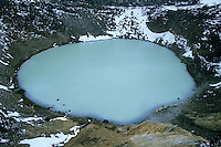 Viti, a geothermal lake situated in the crater of Askja, a stratovolcano in a remote part of Iceland.