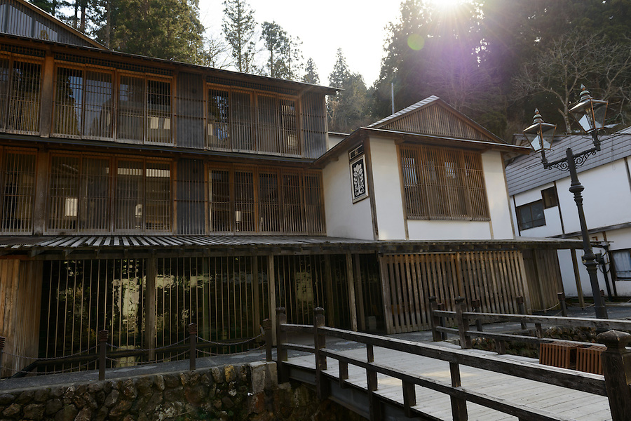 The well-known Fujiya Hot Spring Hotel, designed by architect Kuma Kengo. Ginzan Onsen, Yamagata Prefecture, Japan, April 12, 2016. Once a sliver-mining town, Ginzan Onsen in Yamagata Prefecture is now one of Japan's best-known and most picturesque hot spring resorts. Its Taisho-period architecture and retro atmosphere is said to have been an inspiration for Hayao Miyazaki's Oscar-winning animated film, Spirited Away.