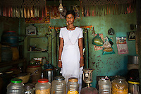"India - Jharkhand - Dhab - Nikita Kumari, 13, is a 9th-standard-student at the Dhab Upgraded High School. The daughter of a coffee-shop-owner, she comes from one of the few local families which are not involved with mica. Nikita was recently elected school leader and undertakes regular visits to the village houses in order to convince parents to send their kids to school. ""People tell me 'Why should we send our kids to school if there are no jobs here?'"", she explains. Still, the young girl managed to convince many kids to join the lessons."