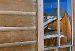 Reflections in town windows, Bodie State Historic Park, California