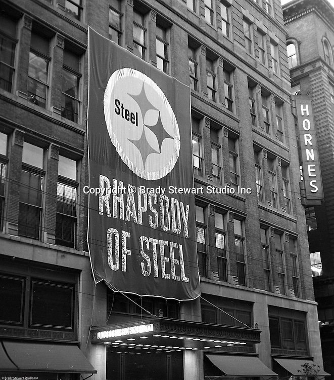 Pittsburgh PA:  View of the Christmas promotion at Horne's department store in downtown Pittsburgh - 1962.  US Steel launched an awareness campaign of all the current uses of steel in everyday products.  During this time, ALCOA Aluminum Company of America also headquartered in Pittsburgh, was aggressively competing to enter markets where US  steel companies traditional dominated market share. Examples included beer and food Cans, appliances, automobile parts, children toys / bicycles, and more.