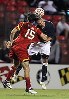 COLLEGE PARK, MD. - AUGUST 20, 2012:  Patrick Mullins (15) of  the University of Maryland has his shirt pulled by Martin Seiler (22) of Penn State during an NCAA match at Ludwig Field, in College Park, Maryland on August 20. The game ended in a 2-2 tie.