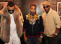 "New York, NY - March 8, 2017 French Montana, Juelz Santana & Camron on the set of the ""Dipped In Coke"" video shoot at the Jue Lan Club, March 8, 2017 in New York City. Photo Credit: Walik Goshorn/Mediapunch"