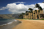 The beach at Kihei, Maui, Hawaii with condominiums.