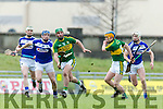 Kerry's Mikey Boyle and Paudie O'Connor get away from Laois players at the Allianz Hurling League Division 1B match against  Laois at Austin Stack Park on Sunday