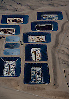 aerial photograph membrane hydraulic fracturing waste water disposal evaporation ponds southern Wyoming