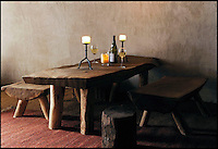 BNPS.co.uk (01202 558833)<br /> Pic: UpcottRoundhouse/BNPS<br /> <br /> Yabba-dabba-doo...<br /> <br /> Hand made furniture...Iron age style.<br /> <br /> A farmer has painstakingly recreated an Iron Age roundhouse to enable holidaymakers to release their inner Flintstone in the heart of the Devon countryside.<br /> <br /> Charles Cole has gone back over 2000 years to offer a back to basic's experience including a stone hearth fire, rudimentary plumbing, composting toilet and a six ton thatched roof to keep out the wind and rain.<br /> <br /> The amazing structure has been completely hand built by Charles and his family from materials sourced from their own farm and they have just opened up for bookings at &pound;170 a night..animal skins are optional.