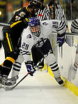 29 December 2007: Holy Cross Crusaders' forward Jim Tselikis, a Senior from Cape Elizabeth, Maine, in action against the University of Vermont Catamounts at Gutterson Fieldhouse in Burlington, Vermont. The Catamounts rallied in the final seconds of play to tie the game 1-1. After overtime, although the official result remained a tie game, the Cats moved up to the championship round by winning a sudden death shootout in the second game of the Sheraton/TD Banknorth Catamount Cup Tournament...Mandatory Photo Credit: Ed Wolfstein Photo