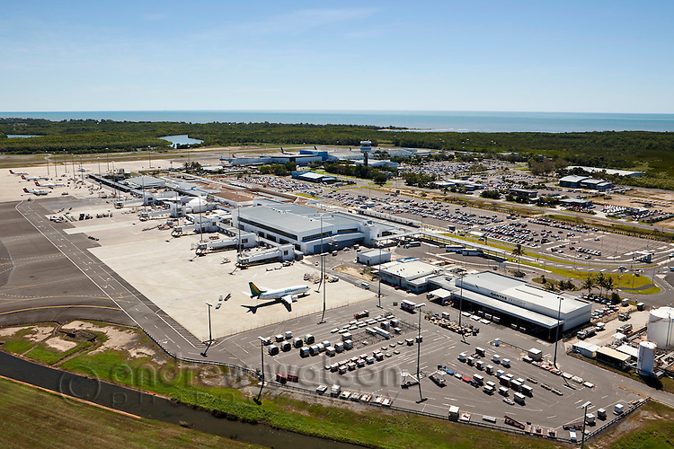 Aerial view of Cairns airport.  Cairns, Queensland, Australia