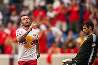 Jonny Steele (22) of the New York Red Bulls celebrates scoring. The New York Red Bulls defeated the Houston Dynamo 2-0 during a Major League Soccer (MLS) match at Red Bull Arena in Harrison, NJ, on June 30, 2013.