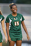 12 September 2013: Miami's Jasmine Paterson. The Duke University Blue Devils hosted the University of Miami Hurricanes at Koskinen Stadium in Durham, NC in a 2013 NCAA Division I Women's Soccer match. Duke won the game 3-0.
