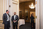 Mark Weinberg, founding dean of the Voinovich School, chats with Ohio University President Roderick McDavis following the Ohio University State Government Alumni Luncheon on Tuesday, May 5, 2015.  Photo by Ohio University  /  Rob Hardin