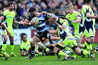 Guy Mercer of Bath Rugby takes on the Sale Sharks defence. Aviva Premiership match, between Bath Rugby and Sale Sharks on April 23, 2016 at the Recreation Ground in Bath, England. Photo by: Patrick Khachfe / Onside Images