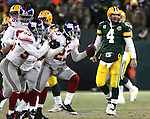 (2008)-NFC Championship Game-Green Bay Packers' Brett Favre after his pass in overtime was intercepted by New York Giants' Corey Webster and returned to the Green Bay 43-yard line. .The Green Bay Packers hosted the New York Giants in the NFC Championship game  Sunday January 20, 2008. Steve Apps-State Journal.