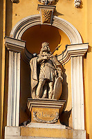 Baroque statue on the Great Church ( Nagy Templom) , Hungary Kecskemét