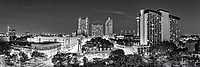 We captured this black and white panorama of the San Antonio Skyline which includes the area along the riverwalk with the Tower of the Americas, light from the Alamo Dome, Tourch of Freedom and many other city business.  The hotels in downtown are some ot the tallest buildings in the area the Marriott, the Hyatt, and the Hilton all tower  above to give the city a beautiful skyline near the riverwalk.<br /> Watermark will not appear on image