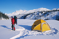 Backpacker on snowshoes stands by yellow tent at camp in the Brooks Range, Arctic, Alaska