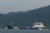 IN UCHIURA BAY, BESIDE THE TAKAHAMA NUCEAR PLANT, AS BNFL SHIP 'PACIFIC PINTAIL' ARRIVES EARLY MORNING FOR RETRIEVAL OF REJECTED PLUTONIUM MOX FUEL, FOR SHIPMENT BACK TO THE UNITED KINGDOM. TAKAHAMA, JAPAN. 04/07/02. .PIC &copy; JEREMY SUTTON-HIBBERT/GREENPEACE 2002..*****ALL RIGHTS RESERVED. RIGHTS FOR ONWARD TRANSMISSION OF ANY IMAGE OR FILE IS NOT GRANTED OR IMPLIED. CHANGING COPYRIGHT INFORMATION IS ILLEGAL AS SPECIFIED IN THE COPYRIGHT, DESIGN AND PATENTS ACT 1988. THE ARTIST HAS ASSERTED HIS MORAL RIGHTS. *******