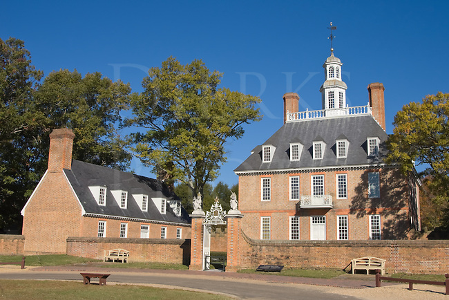 The Governor's Mansion in Colonial Williamsburg, VA, USA.