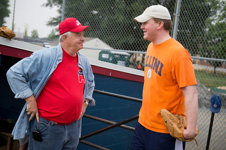 UNITED STATES - JUNE 1:  Coach Joe Barton, R-Texas, left, talks with candidate for Congress Jason Plummer, R-Ill., during republican baseball practice at Simpson Stadium in Alexandria, Va.  (Photo By Tom Williams/CQ Roll Call)