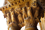 Decorated medieval historicated column capitals in the clositers of Monreale Cathedral - Palermo - Sicily Pictures, photos, images &amp; fotos photography