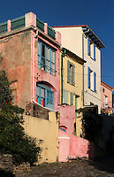 Coloured houses, rue Bellevue, Collioure, France. Collioure has always been a source of inspiration for artists. Picasso, Matisse, Derain, Dufy, Chagall, Marquet, and many others immortalized the small Catalan harbour in their works. Picture by Manuel Cohen.