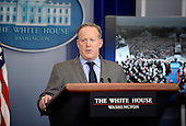 White House press secretary Sean Spicer delivers angry remarks as he speaks in the press briefing room January 21, 2017 in Washington, DC.  Spicer was upset over what what he considers to be inaccurate and unfair press coverage over the past 48 hours.<br /> Credit: Olivier Douliery / Pool via CNP