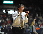 "Lipscomb head coach Scott Sanderson yells encouragement in the first half at the CM. ""Tad"" Smith Coliseum in Oxford, Miss. on Friday, November 23, 2012."