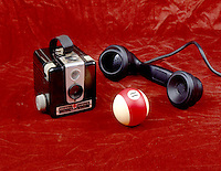 BAKELITE ITEMS: PHONE, BILLIARD BALL, CAMERA<br />