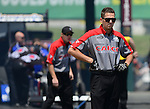 May 19, 2012; Topeka, KS, USA: NHRA crew member for top fuel dragster driver Steve Torrence during qualifying for the Summer Nationals at Heartland Park Topeka. Mandatory Credit: Mark J. Rebilas-