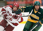Luke Greiner (Harvard - 26), Patrick Marsh (Clarkson - 8) - The Harvard University Crimson defeated the visiting Clarkson University Golden Knights 3-2 on Harvard's senior night on Saturday, February 25, 2012, at Bright Hockey Center in Cambridge, Massachusetts.