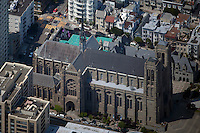 aerial photograph Grace Cathedral Nob Hill residential neighborhood San Francisco California