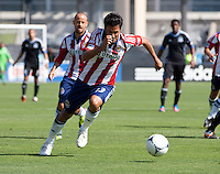 Santa Clara, California - Sunday May 13th, 2012: Alejandro Moreno of the Chivas USA chases the ball  during a Major League Soccer match at Buck Shaw Stadium