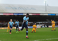 Blackpool's Bright Osayi-Samuel celebrates scoring his sides first goal <br /> <br /> Photographer Kevin Barnes/CameraSport<br /> <br /> The EFL Sky Bet League Two - Saturday 18th March 2017 - Newport County v Blackpool - Rodney Parade - Newport<br /> <br /> World Copyright &copy; 2017 CameraSport. All rights reserved. 43 Linden Ave. Countesthorpe. Leicester. England. LE8 5PG - Tel: +44 (0) 116 277 4147 - admin@camerasport.com - www.camerasport.com