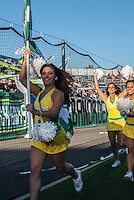 HEMPSTEAD, NY – SEPTEMBER 29: Cosmos Girls, cheerleaders for the New York Cosmos, celebrate a goal against the Tampa Bay Rowdies on September 29, 2013 at  Shuart Stadium in Hempstead, New York.