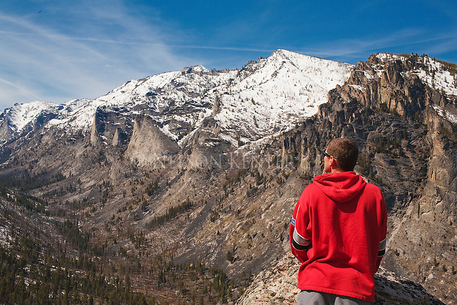 Sightseer at the Blodgette canyon Overlook in the Bitterroot Mountains in western Montana