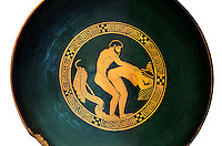 Greek Attica pottery plate with erotic depiction of a man and women, 5th century BC, Secret Museum or Secret Cabinet, Naples National Archaeological Museum , white background