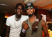 BRONX, NEW YORK - AUGUST 13, 2016 Young Thug & Swizz Beatz bacjstage at the Bacardi x Dean Collection No Commission Art event, August 13, 2016  in The Bronx, New York. Photo Credit: Walik Goshorn / Mediapunch