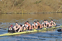 151 SEN.8+ Thames RC A..Reading University Boat Club Head of the River 2012. Eights only. 4.6Km downstream on the Thames form Dreadnaught Reach and Pipers Island, Reading. Saturday 25 February 2012.