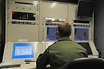 "Omer, deputy commander of ""Eitan"" UAV unit, at the control room at Tel-Nof Israeli Airforce base."