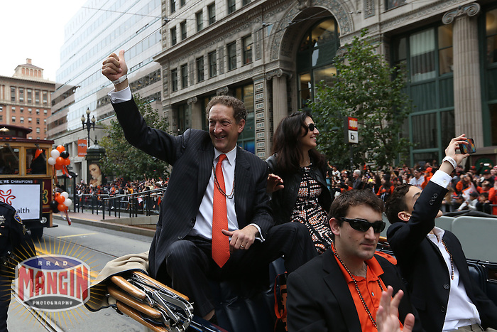 SAN FRANCISCO - OCTOBER 31:  Owner Larry Baer of the San Francisco Giants waves to the fans on Market Street during the World Series parade on October 31, 2012 in San Francisco, California. (Photo by Brad Mangin)