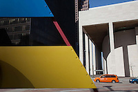 Detail of a sculpture by Joan Miró on the left and Jones Hall in Houston, Texas - 2013