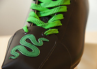 Michelle's new custom toe guards (toe protectors) on her Riedell 220 black roller skating boots with Bones wheels.  The Toe Guards were made by Derby Vixen (http://www.etsy.com/shop/derbyvixen), and are AWESOME.  The pattern is a green snake.