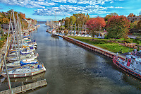 A fall view looking south along 16 Mile Creek at the sailboats in Oakville Ontario.
