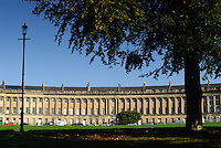 The Royal Crescent, Bath, UK, October 6, 2007. The city of Bath is famed for it's hot springs (the only in the UK) and it's Georgian architecture. The city is a UNESCO World Heritage Site.